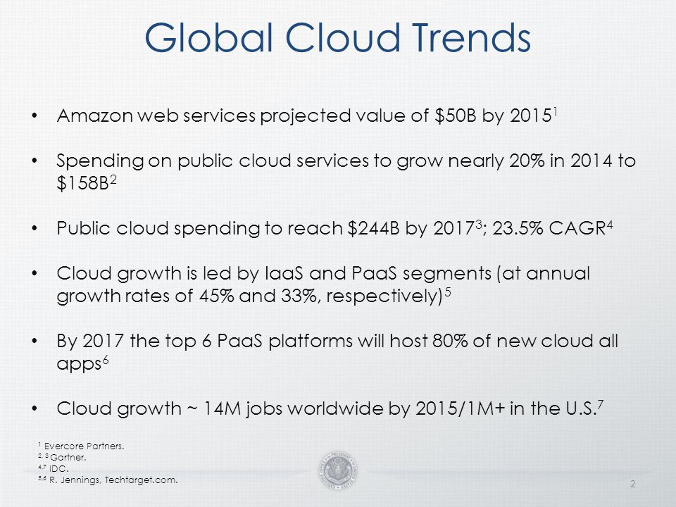 Global Cloud Trends Amazon web services projected value of $50B by 20151. Spending on public cloud services to grow nearly 20% in 2014 to $158B2.