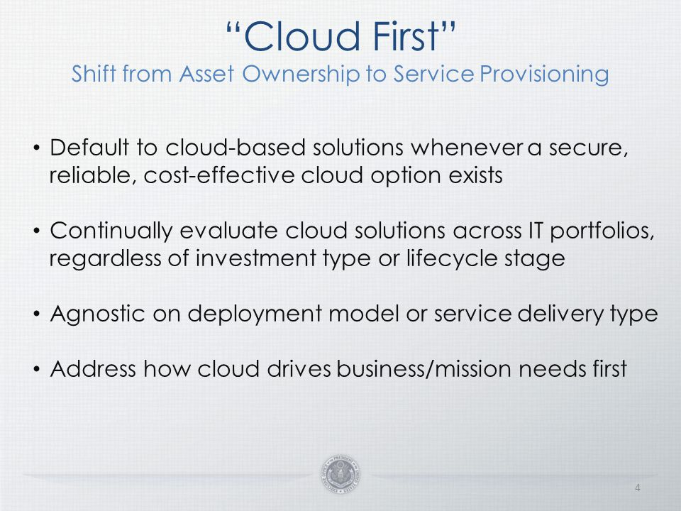 Cloud First Shift from Asset Ownership to Service Provisioning