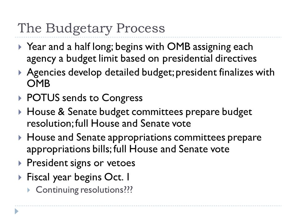 The Budgetary Process Year and a half long; begins with OMB assigning each agency a budget limit based on presidential directives.