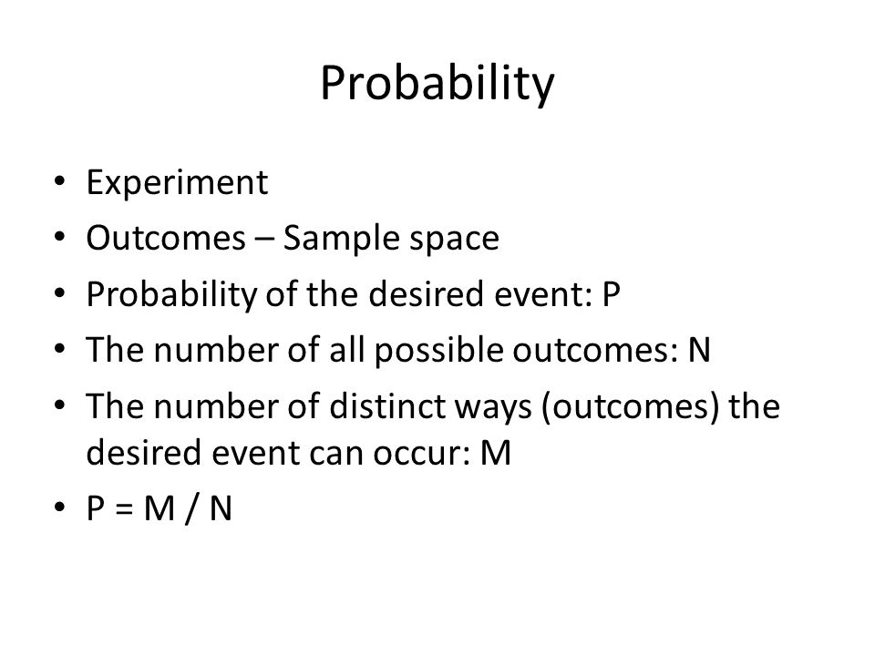 Probability Experiment Outcomes – Sample space