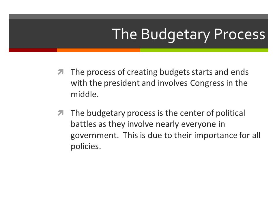 The Budgetary Process The process of creating budgets starts and ends with the president and involves Congress in the middle.