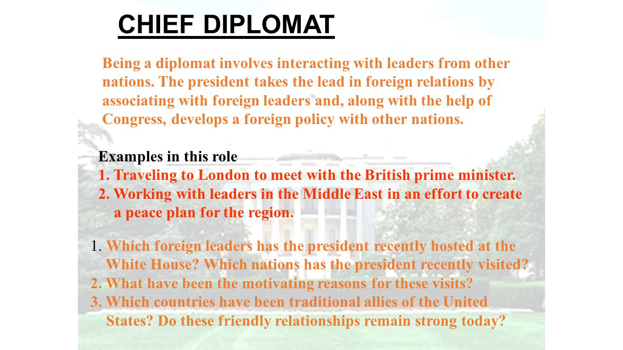 CHIEF DIPLOMAT Being a diplomat involves interacting with leaders from other. nations. The president takes the lead in foreign relations by.