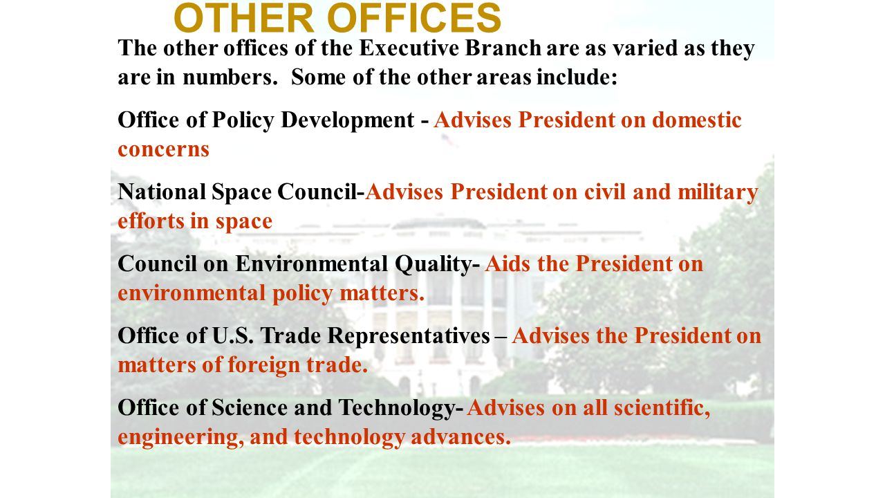 OTHER OFFICES The other offices of the Executive Branch are as varied as they are in numbers. Some of the other areas include: