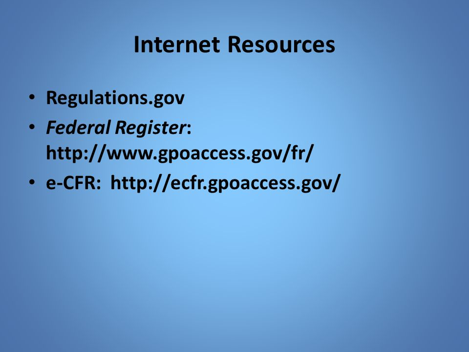 Internet Resources Regulations.gov