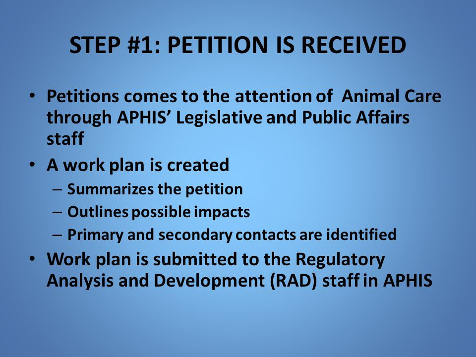 STEP #1: PETITION IS RECEIVED