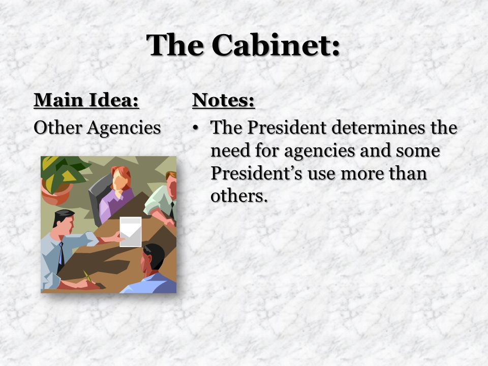 The Cabinet: Main Idea: Other Agencies Notes: