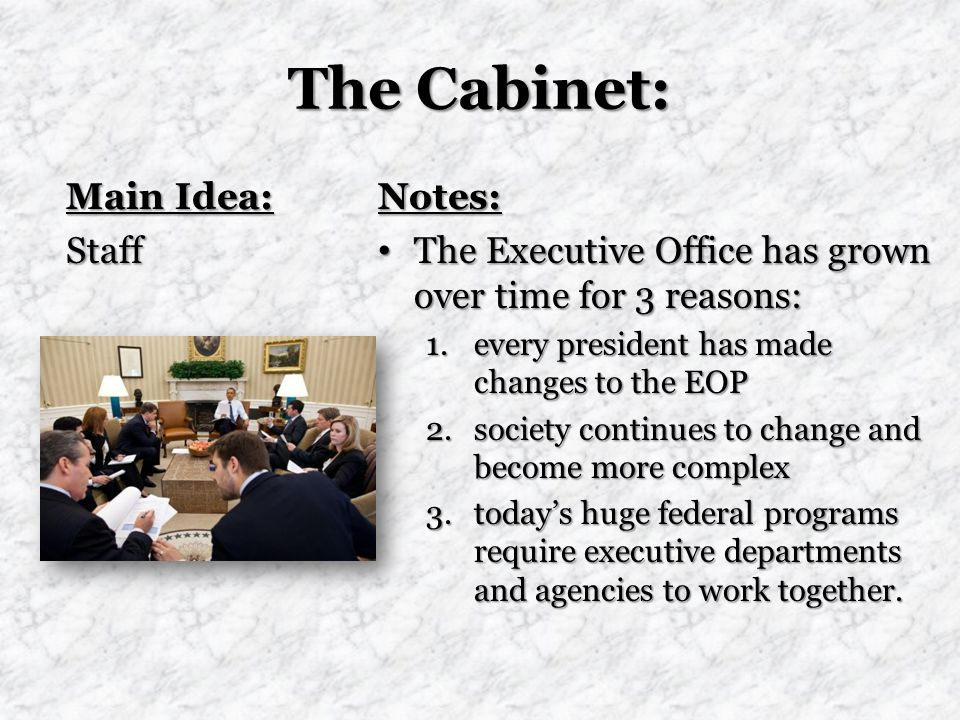 The Cabinet: Main Idea: Staff Notes: