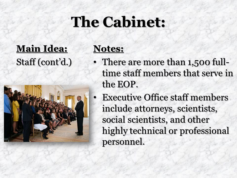 The Cabinet: Main Idea: Staff (cont'd.) Notes: