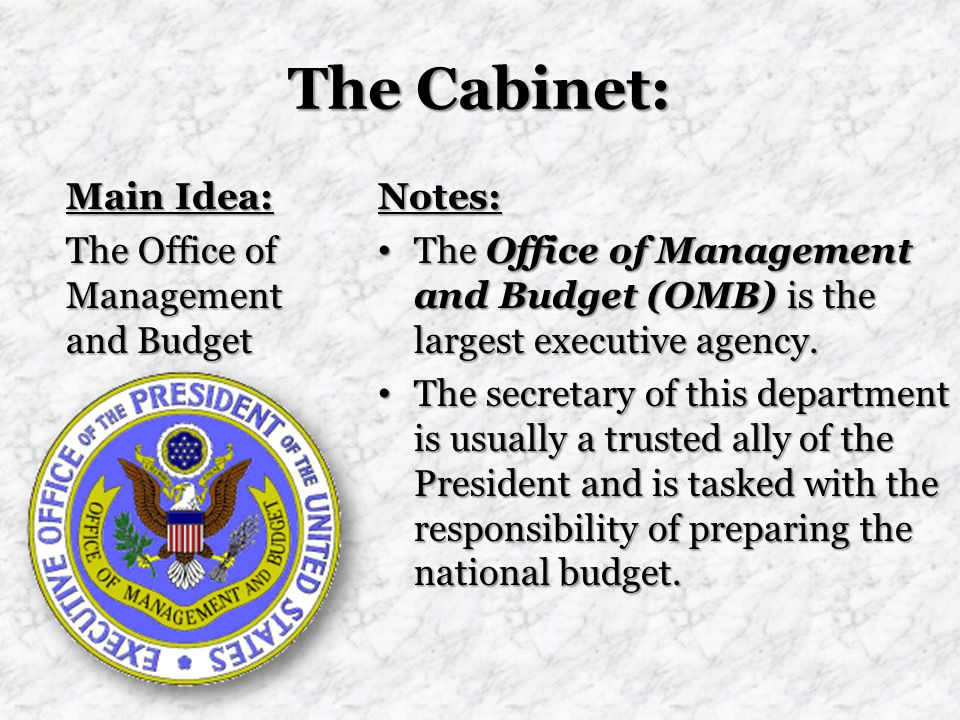 The Cabinet: Main Idea: The Office of Management and Budget Notes: