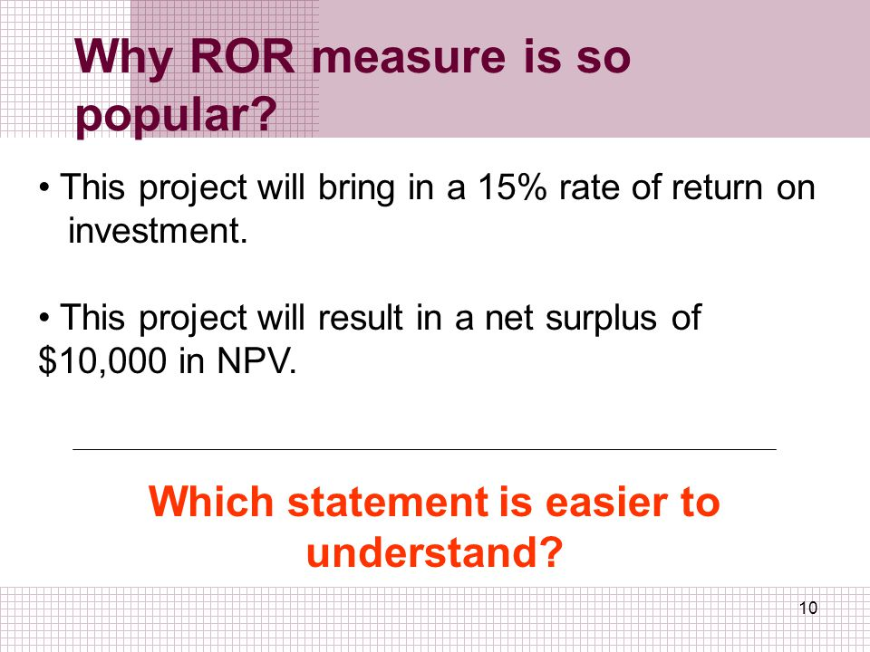 Why ROR measure is so popular