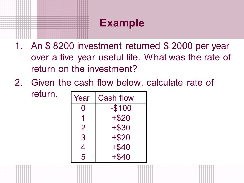 Example An $ 8200 investment returned $ 2000 per year over a five year useful life. What was the rate of return on the investment