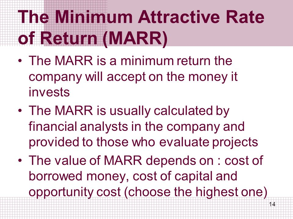 The Minimum Attractive Rate of Return (MARR)