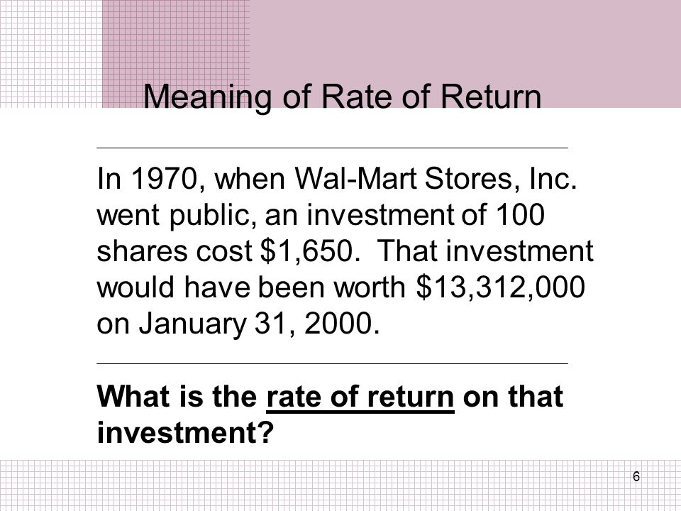 Meaning of Rate of Return