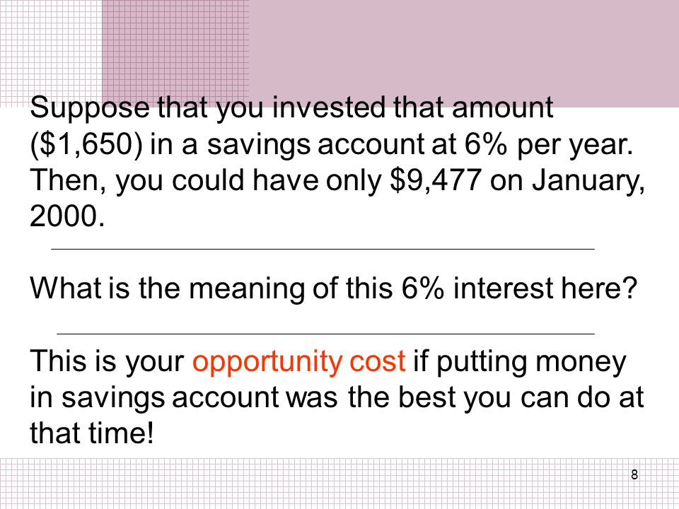 Suppose that you invested that amount ($1,650) in a savings account at 6% per year. Then, you could have only $9,477 on January, 2000.