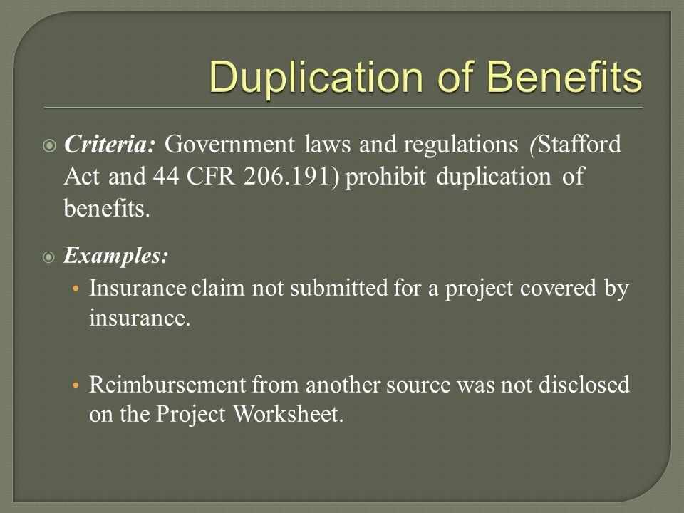Duplication of Benefits