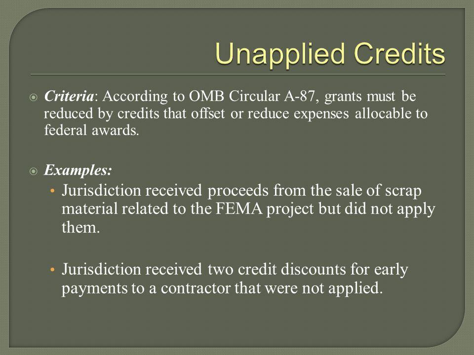 Unapplied Credits
