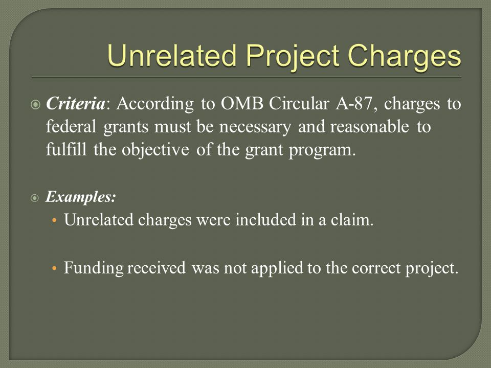 Unrelated Project Charges