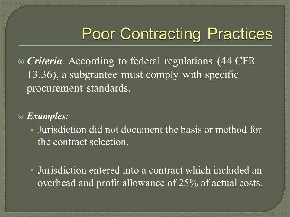 Poor Contracting Practices