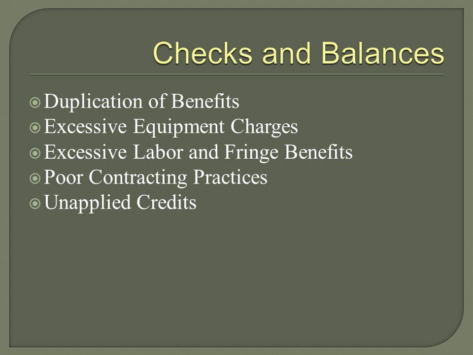 Checks and Balances Duplication of Benefits
