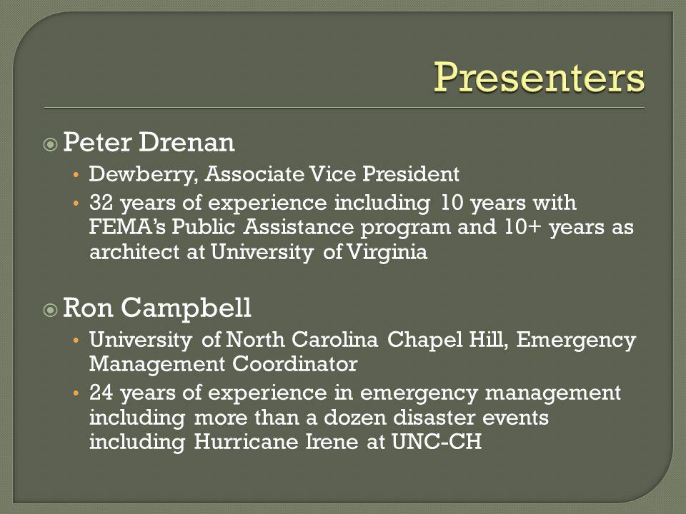 Presenters Peter Drenan Ron Campbell