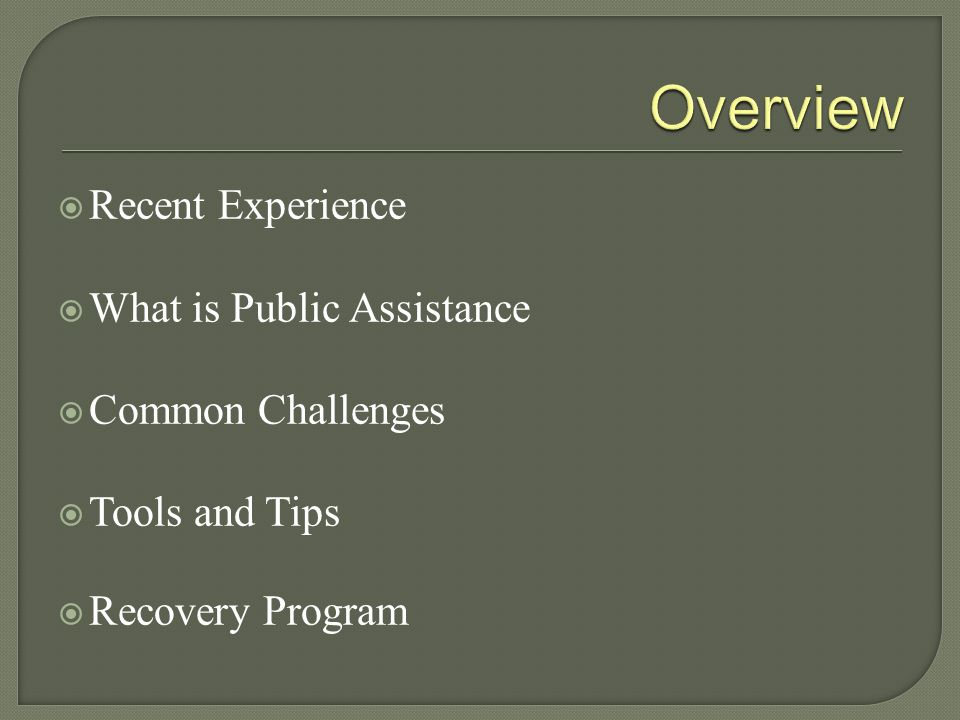 Overview Recent Experience What is Public Assistance Common Challenges