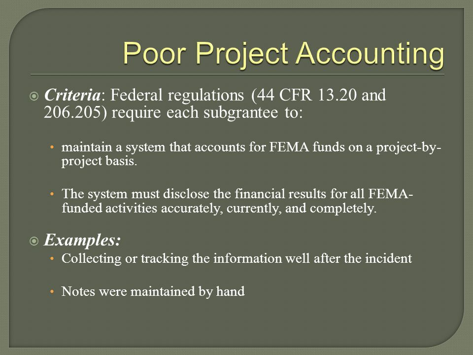 Poor Project Accounting