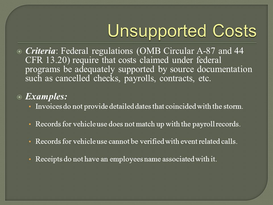 Unsupported Costs