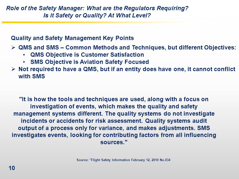 Role of the Safety Manager: What are the Regulators Requiring