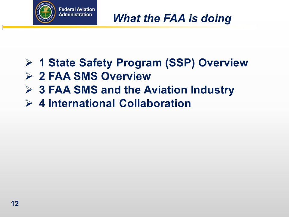 What the FAA is doing 1 State Safety Program (SSP) Overview. 2 FAA SMS Overview. 3 FAA SMS and the Aviation Industry.