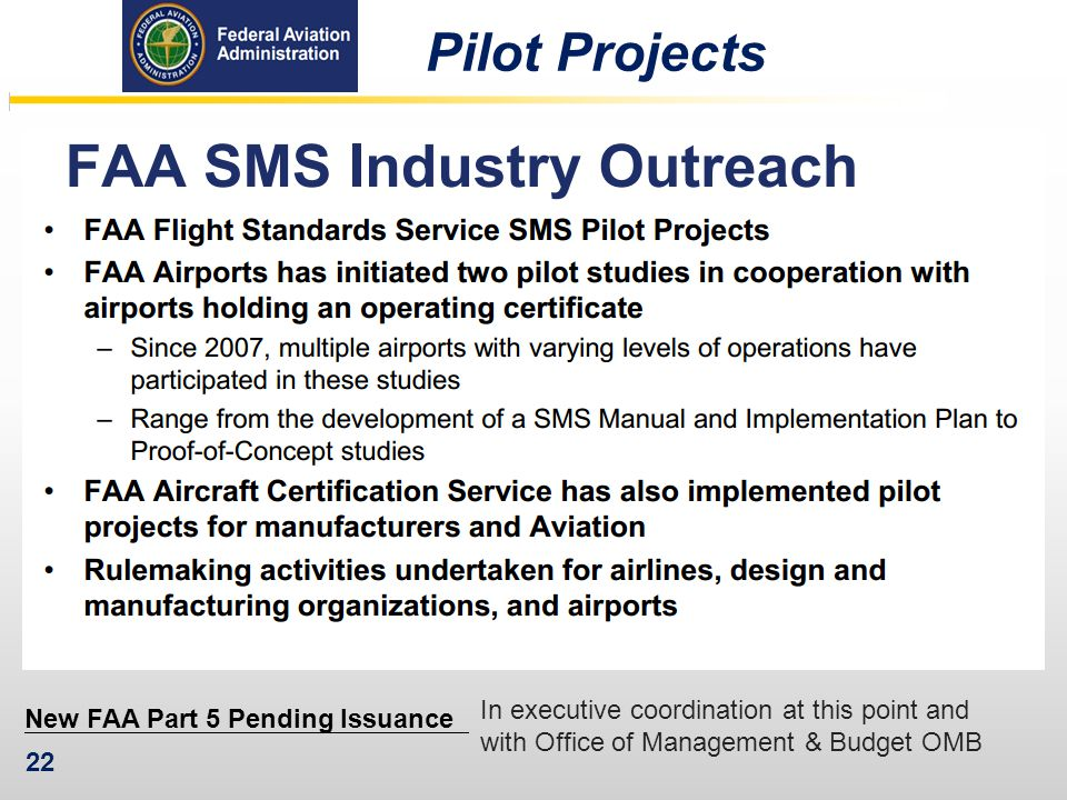 New FAA Part 5 Pending Issuance