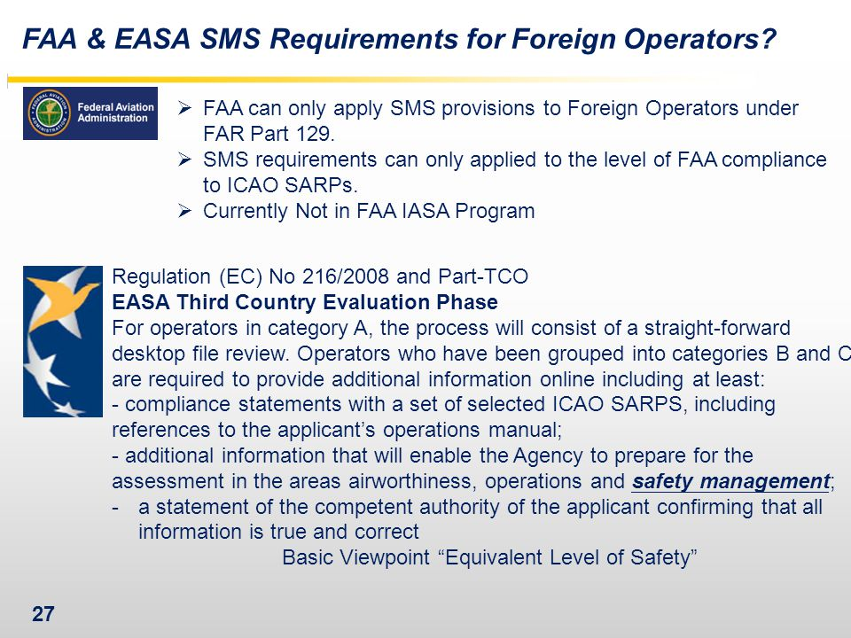FAA & EASA SMS Requirements for Foreign Operators