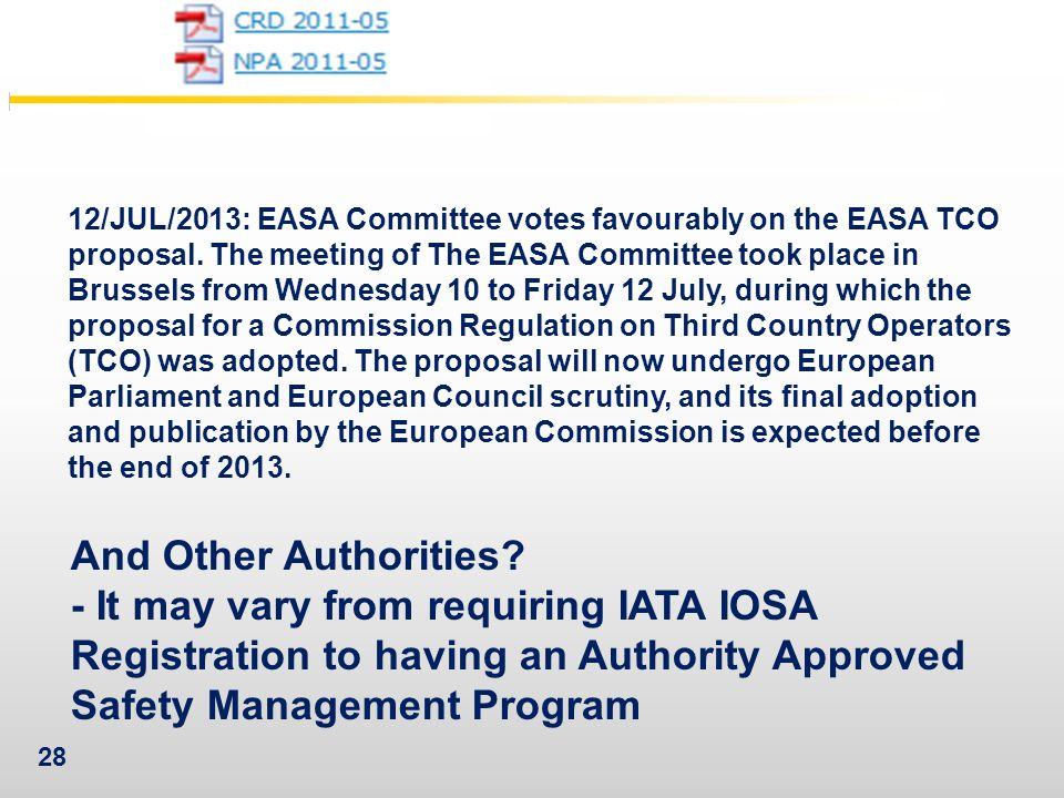 12/JUL/2013: EASA Committee votes favourably on the EASA TCO proposal
