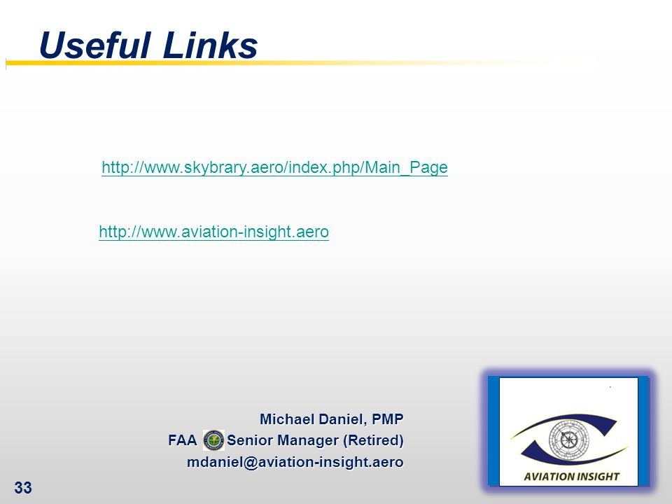 Useful Links http://www.skybrary.aero/index.php/Main_Page