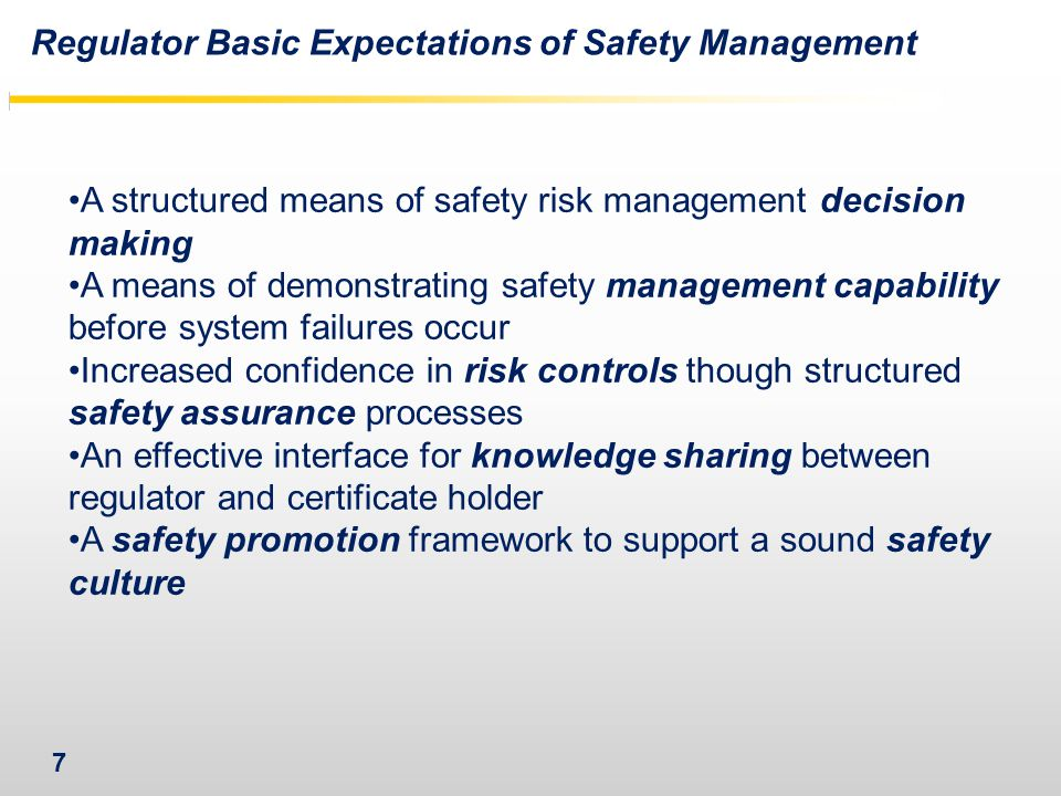Regulator Basic Expectations of Safety Management