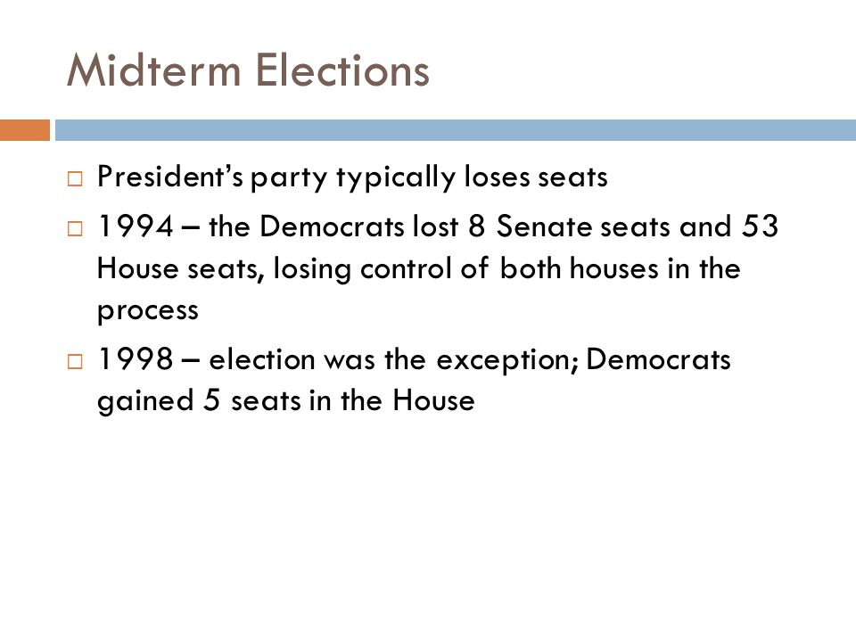 Midterm Elections President's party typically loses seats
