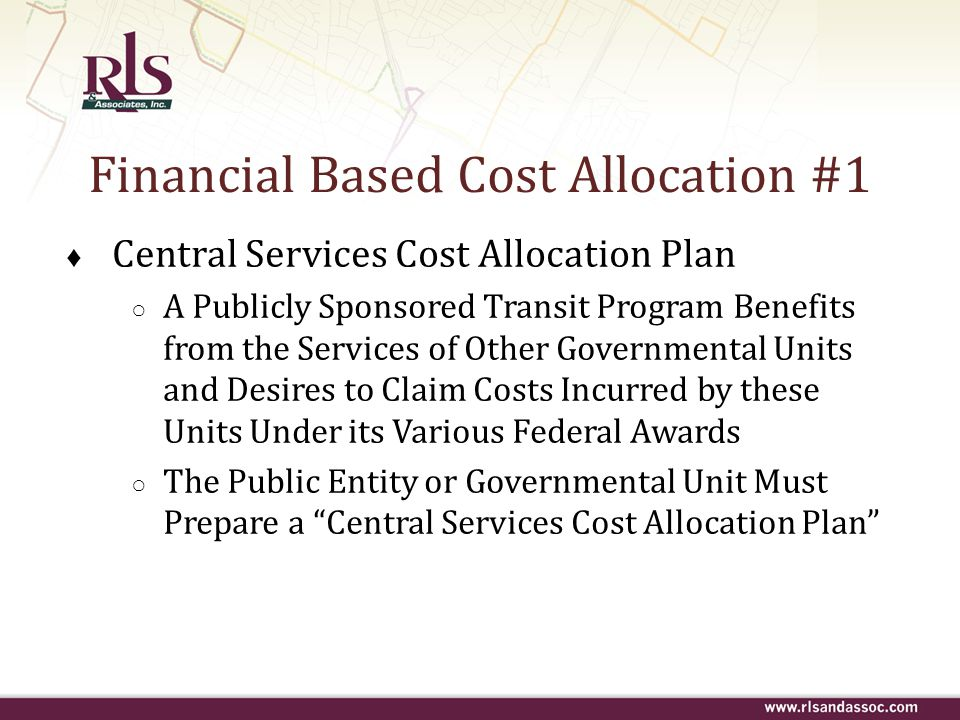 Financial Based Cost Allocation #1