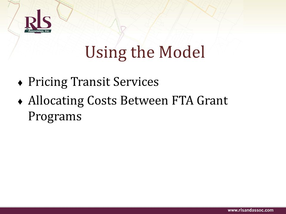 Using the Model Pricing Transit Services