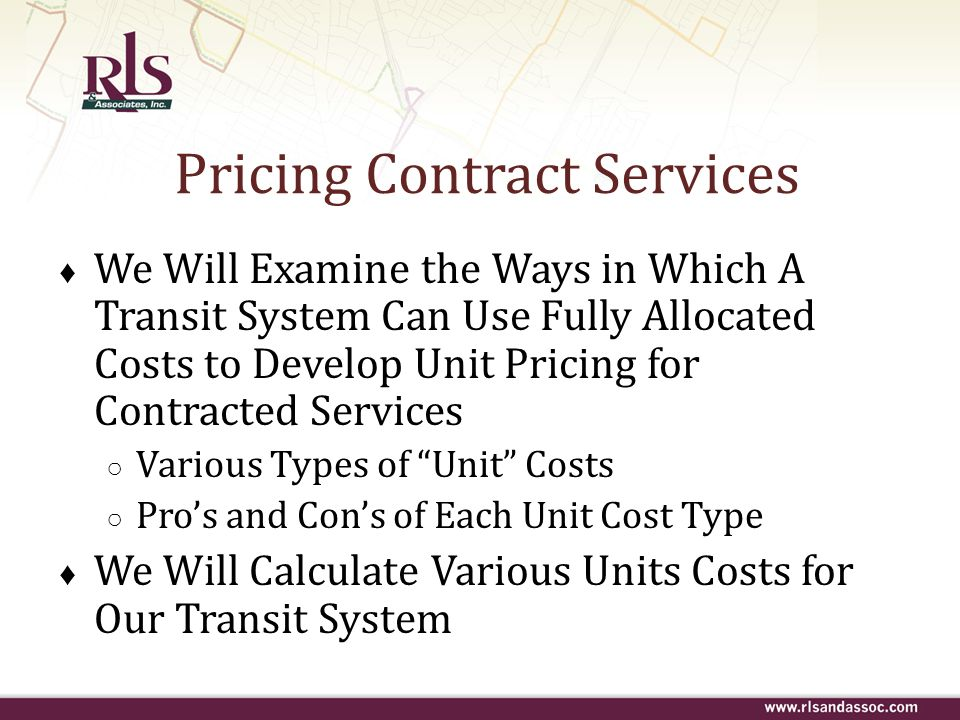 Pricing Contract Services