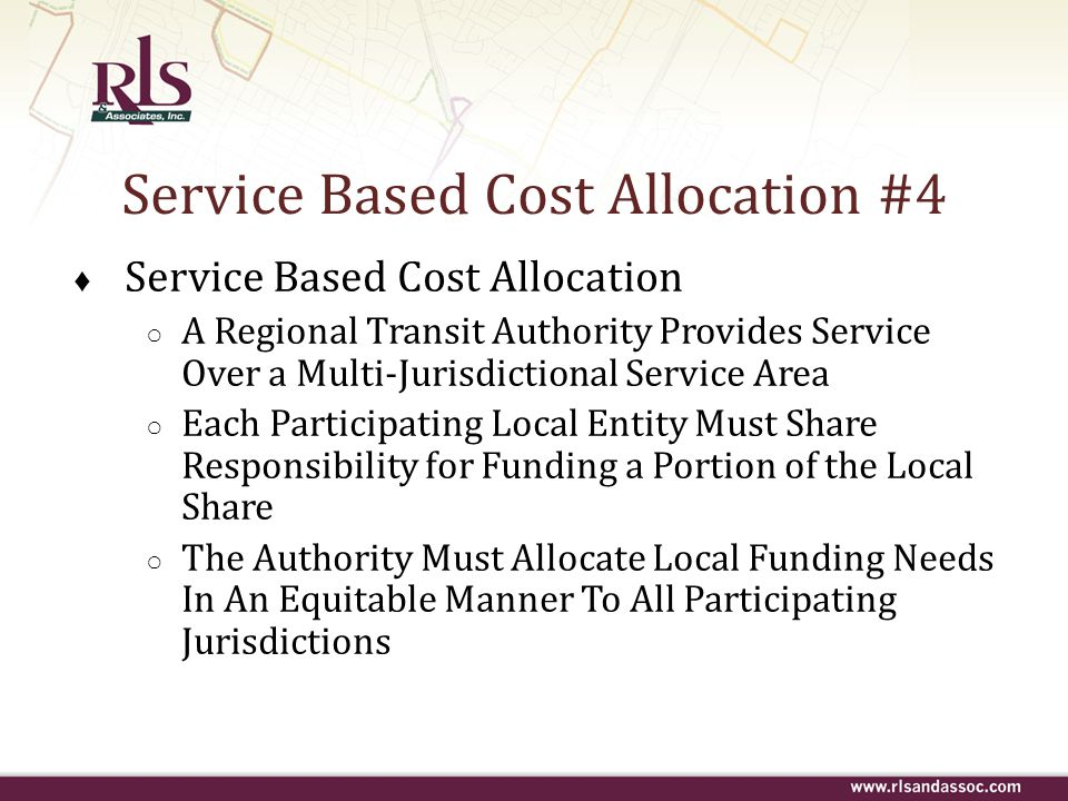 Service Based Cost Allocation #4