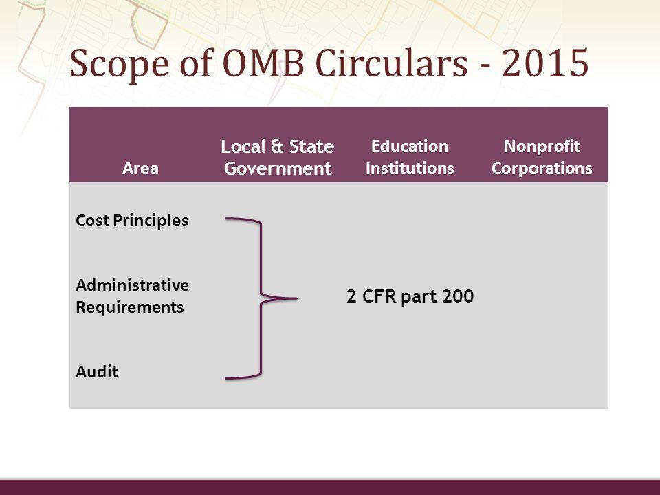 Scope of OMB Circulars - 2015