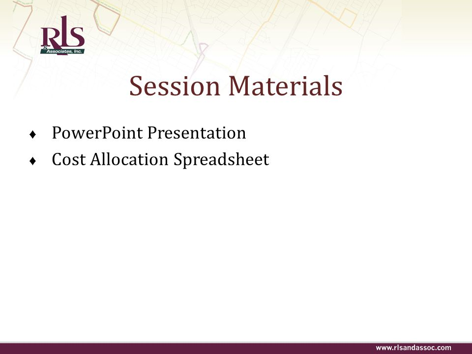Session Materials PowerPoint Presentation Cost Allocation Spreadsheet