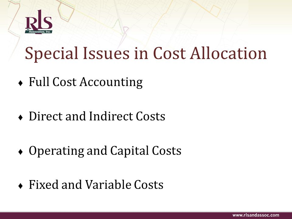 Special Issues in Cost Allocation