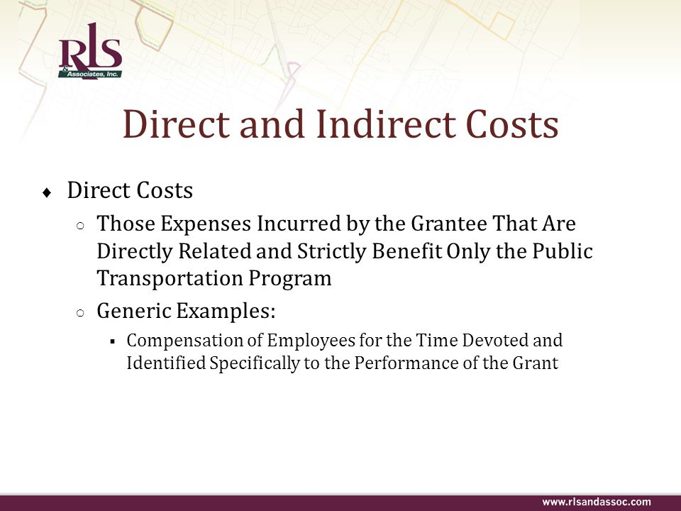 Direct and Indirect Costs