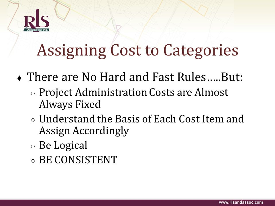 Assigning Cost to Categories