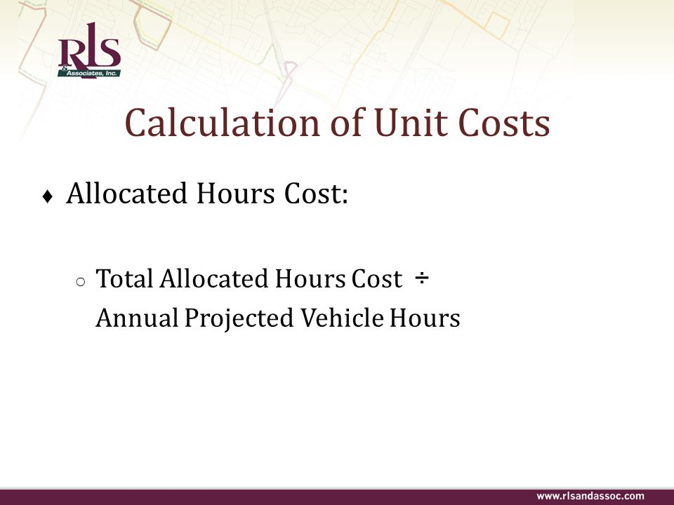 Calculation of Unit Costs