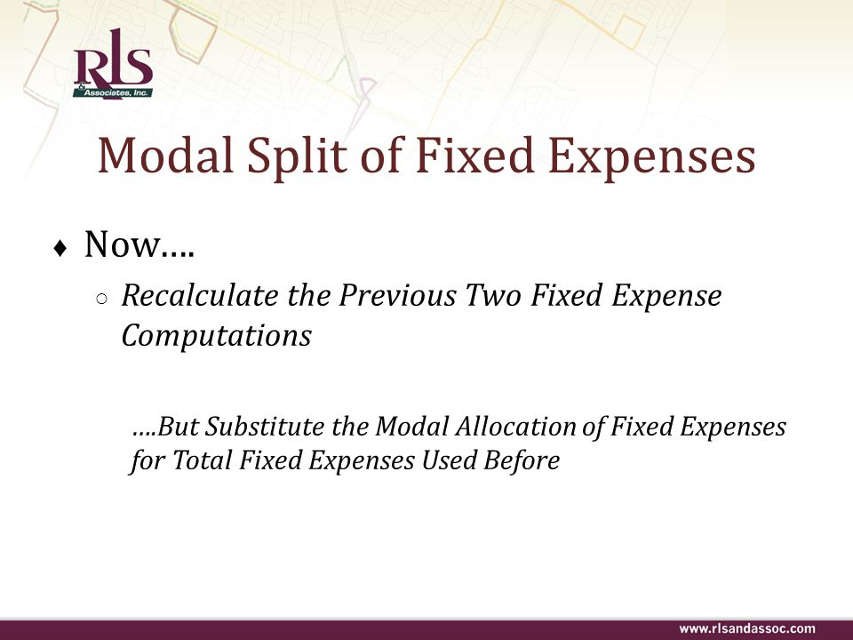 Modal Split of Fixed Expenses