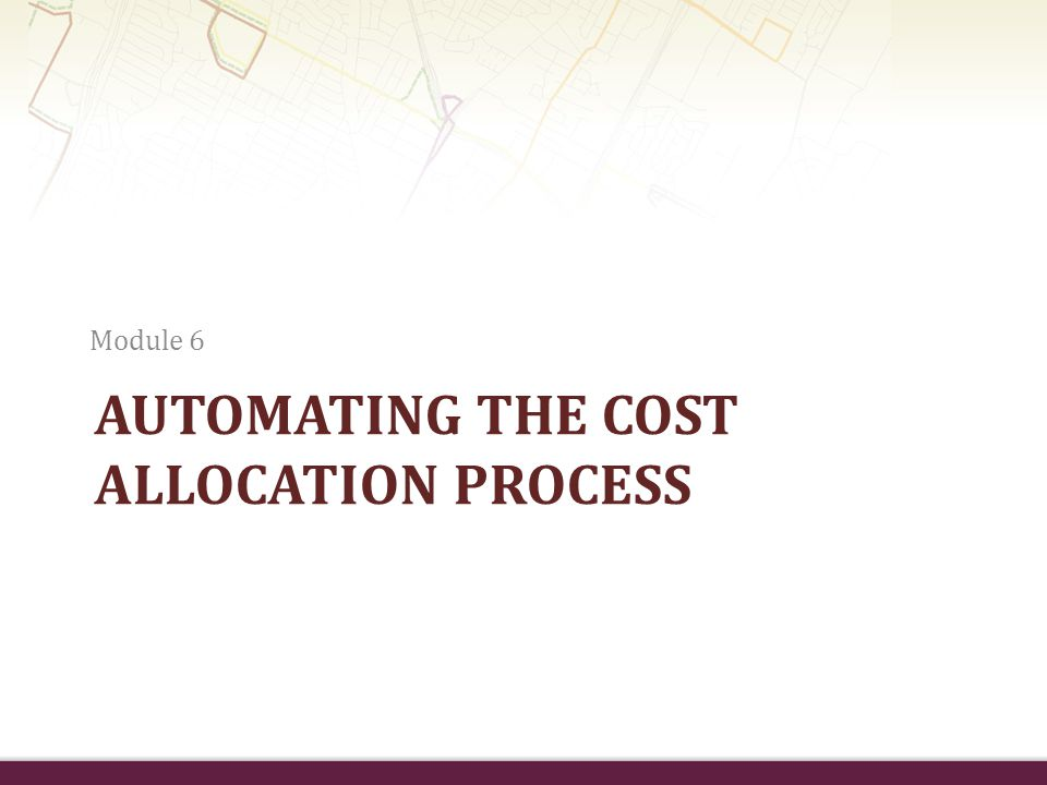 Automating the cost allocation process