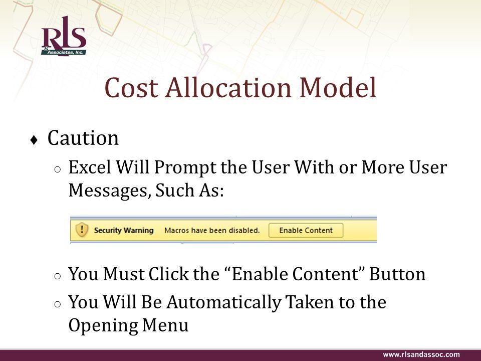 Cost Allocation Model Caution