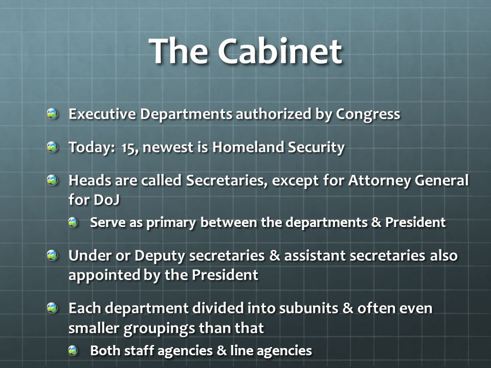 The Cabinet Executive Departments authorized by Congress