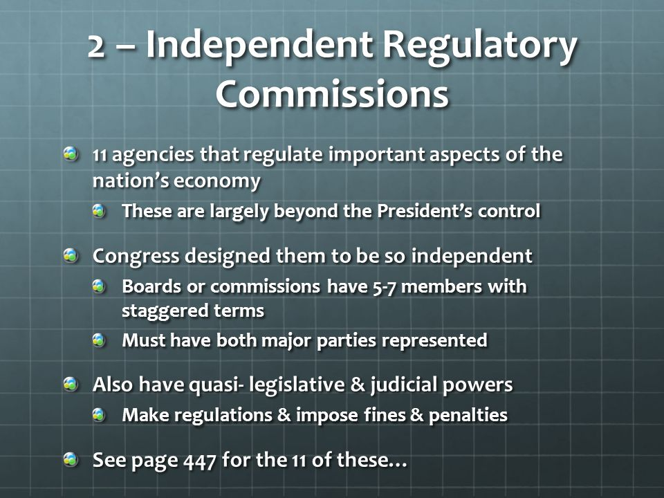 2 – Independent Regulatory Commissions